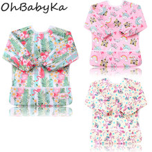 Ohbabyka Pocket Feeding Bibs Baby Shower Gift Waterproof Long Sleeve Baby Feeding Clothes Unisex for Kids 6-24Month 3PCS/Pack