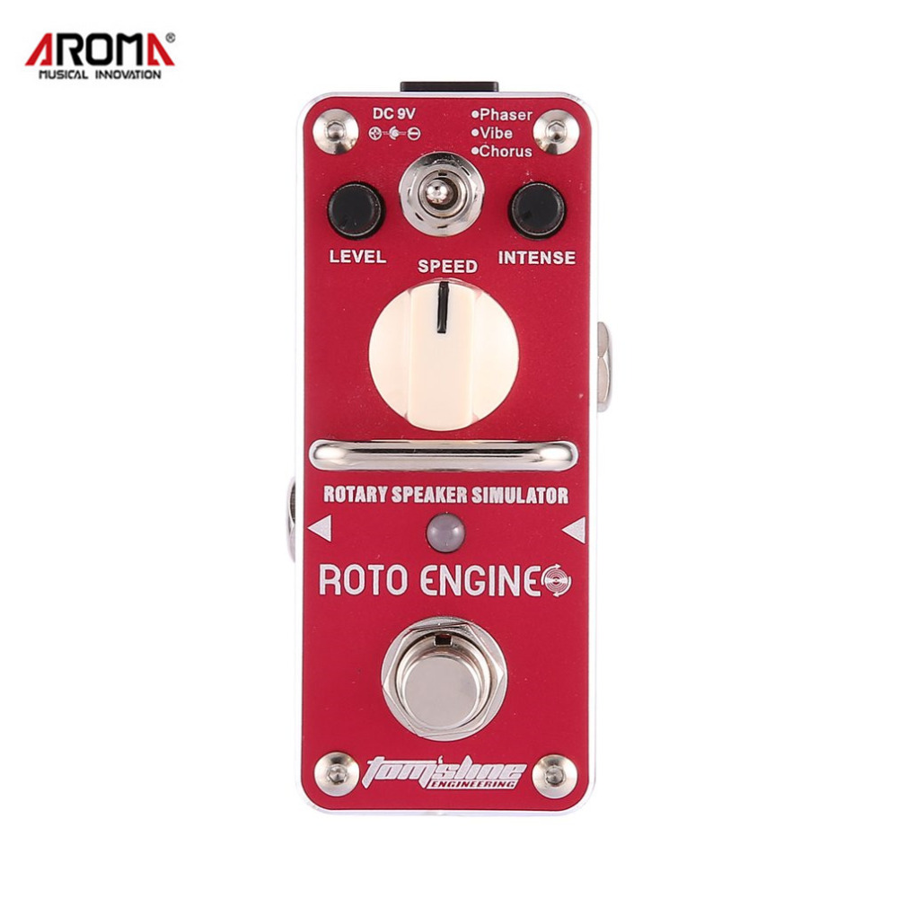 Aroma ARE-3 Roto Engine Rotary Speaker Simulator Electric Guitar Equalizer Mini Single Effect Pedal True Bypass Guitar Parts Red sews aroma aov 3 ocean verb digital reverb electric guitar effect pedal mini single effect with true bypass