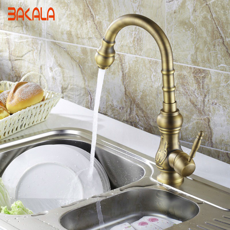 Waschbecken, Armaturen Und Zubehör. Wasserhahn Küche Schwenkauslauf Vanity Sink Mischbatterie Einzigen Handgriff Antike Messing Küchenarmatur Bronze Finish