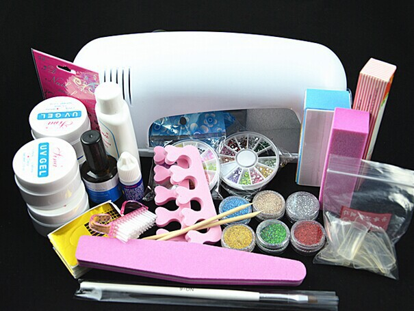 ATT-77 Professional Full Set UV Gel Kit Nail Art Set + 9W Curing UV Lamp Dryer Curining FREE SHIPPING att 138 pro nail polish eu us plug 9w uv lamp gel cure glue dryer 54 powder brush set kit at free shipping