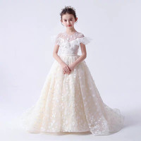 2019Luxury Children Girls Exquisite Champagne Color Birthday Wedding Party Princess Long Tail Mesh Dress Kids Flowers Host Dress