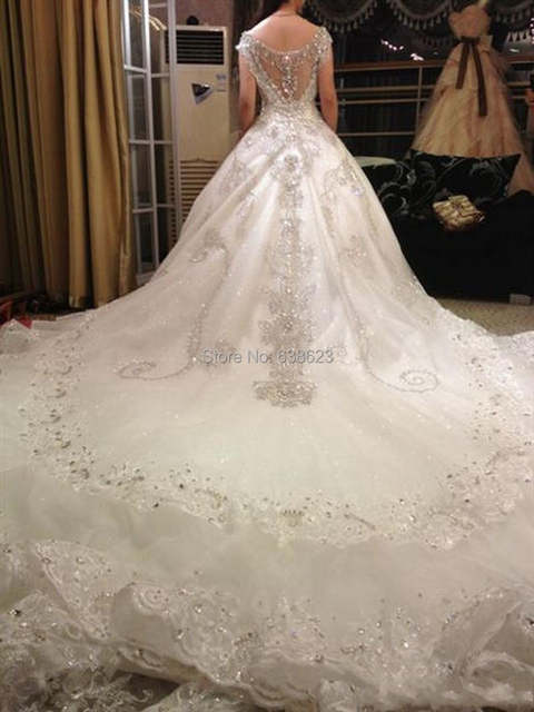 placeholder DAW1444 Free Shipping Luxury V-Neck Ball Gown Long Train Church  Wedding Dresses Crystal Beaded ea98fa114d41