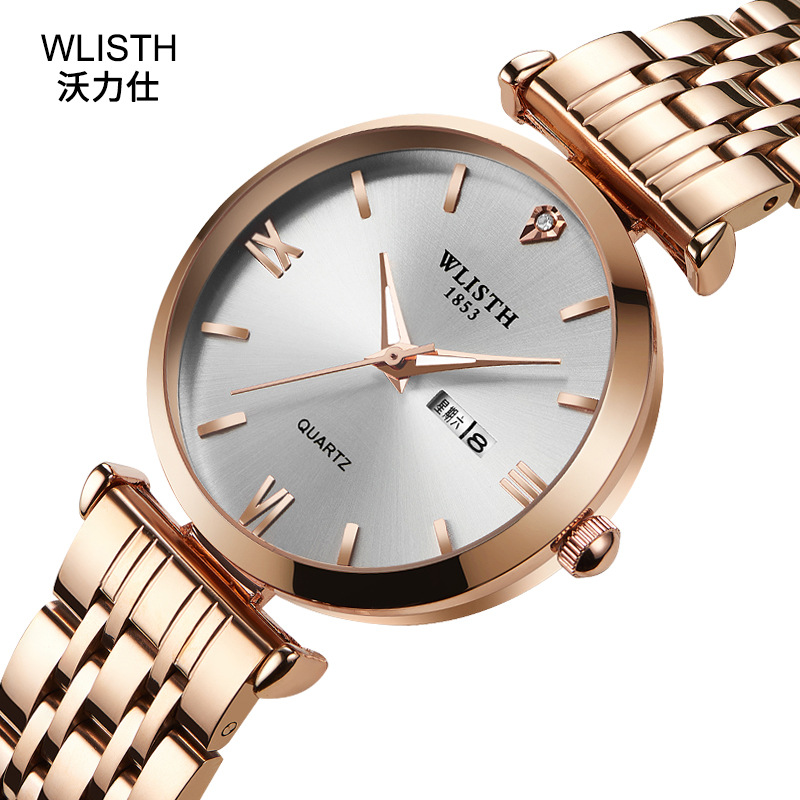 Wlisth Top Brand Women Gold Luxury Stainless Steel Week English Display Date Men Quartz Clock Casual Business Women Wrist Watch