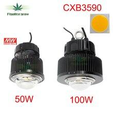 DIY CREE COB CXB3590 ile ışık büyümeye yol açtı İdeal tutucu 50 2303CR Meanwell sürücü HBG 100 36B yerine 400w HPS ışık büyümek