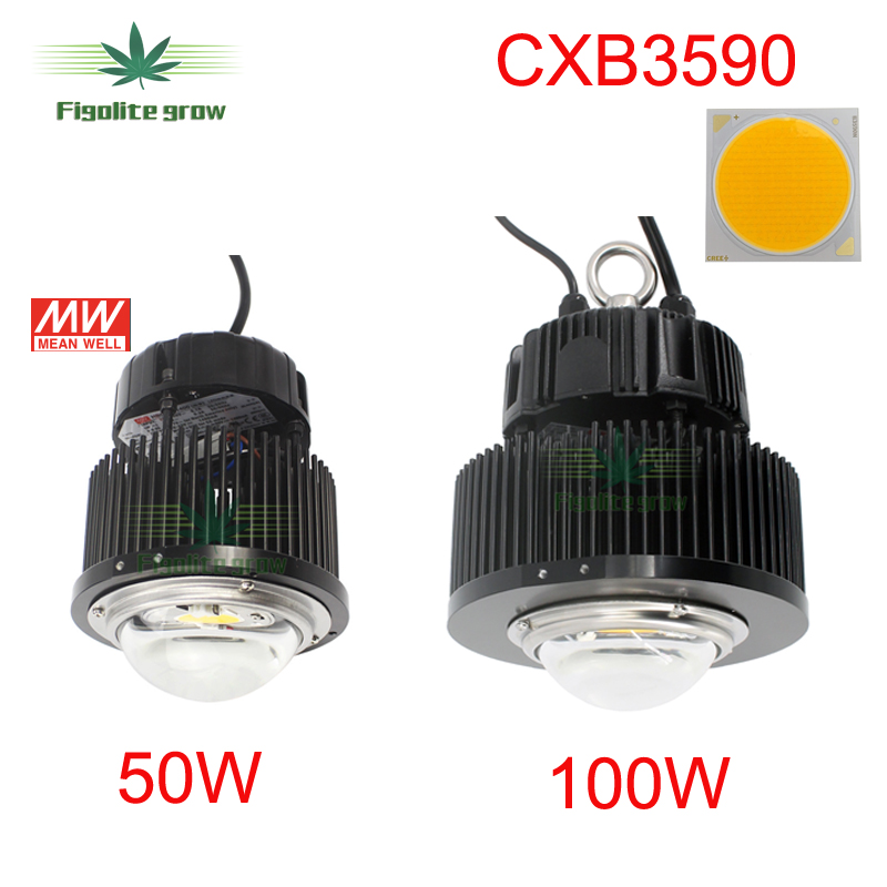 New DIY 50w 100w Cree COB CXB3590 Chip LED grow light with HBG 100 36B for indoor plant growing replace 400w HPS grow light