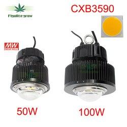 New FAI DA TE 50 w 100 w COB CXB3590 Chip LED coltiva la luce con HBG-100-36B per impianto al coperto in crescita sostituire 400 w HPS coltivano la luce