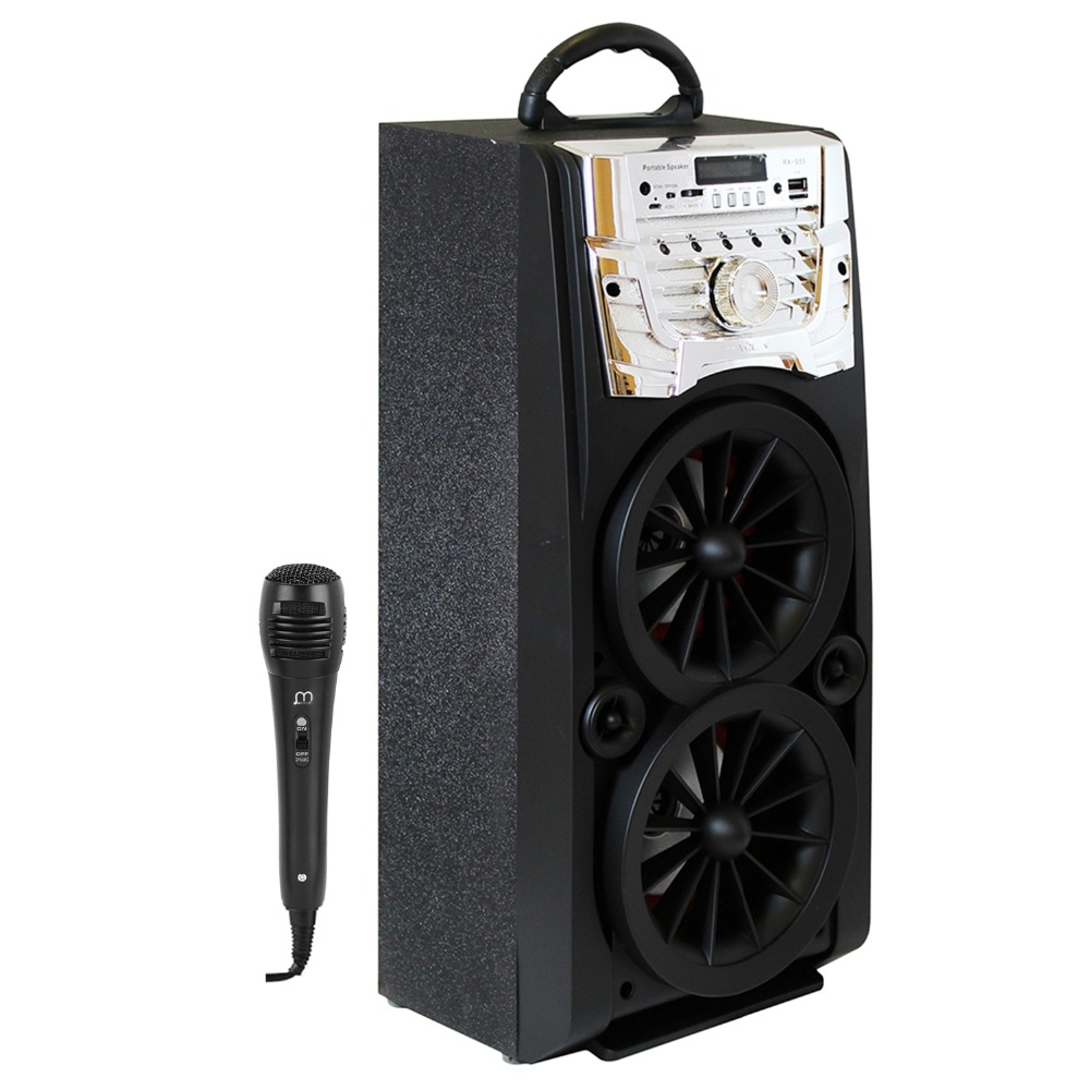 Speaker Bluetooth Karaoke Portable with Microphone Radio High Power LED light for Party speaker bluetooth karaoke portable wireless with microphone with fm radio mp3 portable output 20w high power for party bbq
