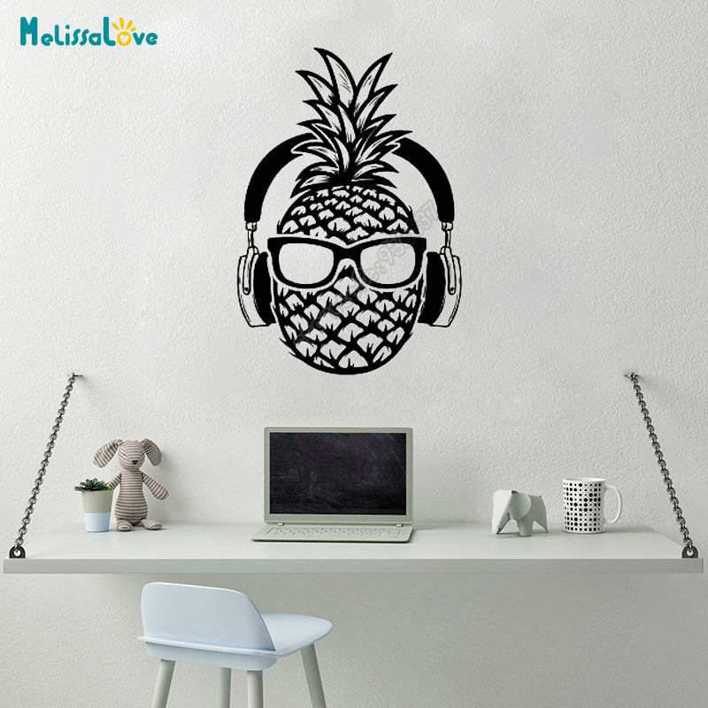 Pineapple Sticker Listen Music Headphones Sunglasses Teenage Bedroom Decal Living Room Decor Removable Vinyl Wall Stickers B625
