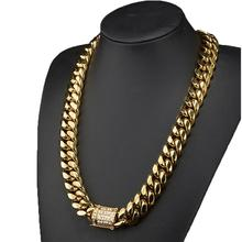 16mm Heavy Tone Gold Color Stainless Steel Charm Miami Chain Curb Cuban Link Cool Mens Necklace Male Party Birthday Jewelry
