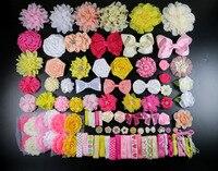 DIY аксессуары комплекты комплект девушка душ станция комплект, повязка на голову, потертый цветок розы волос с бантиками, рождения Рождеств...