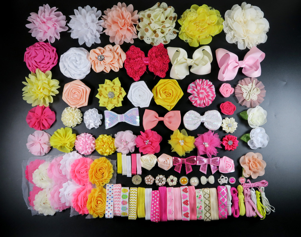 DIY accessories kits set,GIRL Shower Station Kit,Headband Making,shabby flower Rose hair bow Trim ,Birthday christmas day gift S free shipping and hand customize new style20pcs blessing good girl modern style headband accessories hyacinth garland hair bow