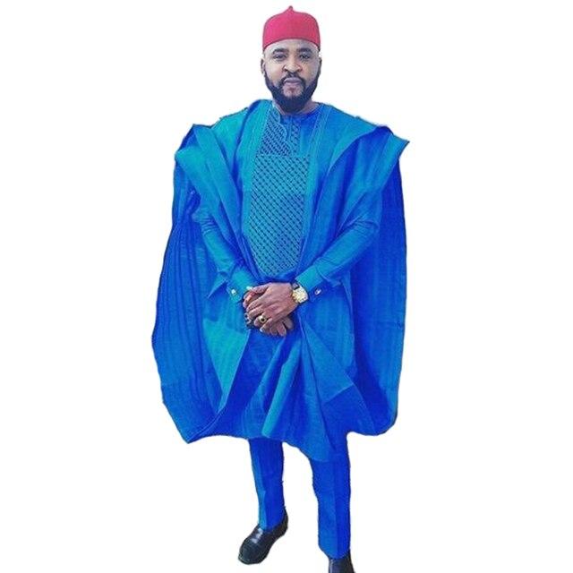 b31dfc628 Varejo estilo Africano masculino roupas conjunto dos homens t shirt + pant  casuais + bordado colete