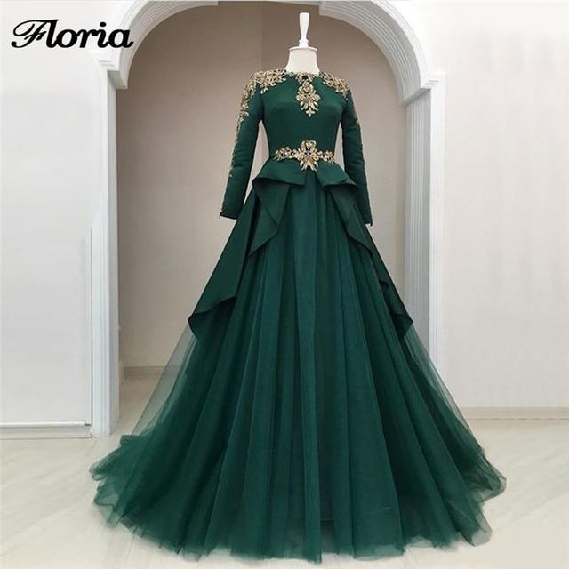 Muslim Green Formal Evening Dresses Robe de soiree Turkish Arabic Dubai  African Formal Evening Gowns Dress For Weddings Kaftans bf5babe129f3