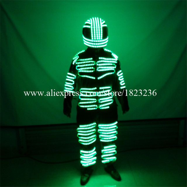 Colorful LED Luminous Men Robot Suit Illuminated Clothing Growing Light Dance Clothes Ballroom Costume For Stage Show