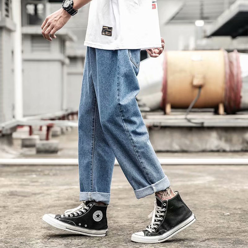 2020 New Fashion Men's Jeans Brand Hip Hop Autumn Torn Men's Solid Cotton Straight Tube Loose Vintage Washed Jeans Streetwear