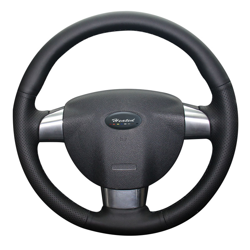 Luxury Hand Sewing Nappa Leather Auto steering wheel cover for Ford Focus 2 3 spoke car