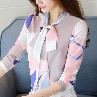 Fashion Spring Autumn Print Bow Collar Women's  Long Sleeve Office Lady Tops Elegant Chiffon Blusas Shirts Slim Casual Blouses