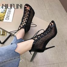 Fashion Peep Toe Mesh Gauze Straps Womens Sandals Stiletto NIUFUNI 2019 New Hollow High Heels Sexy Fish Mouth Shoes
