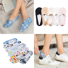 Women summer lace flower print ankle socks  Elastic ice silk comfortable cool cotton socks Female Antiskid Invisible Ankle Socks flower embroidered socks curled wood ear cotton socks comfortable women s socks