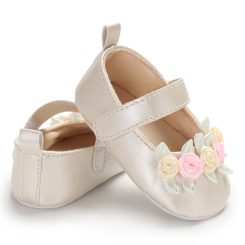Newborn Baby Simple Small Fresh Flower Baby Girl Toddler Princess PU Shoes Champagne White First Walker