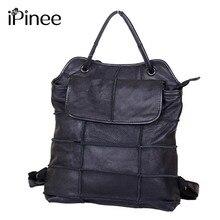 Ipinee Новый дизайнерский бренд модные черные женские натуральная кожа рюкзак модные женские туфли дорожная сумка