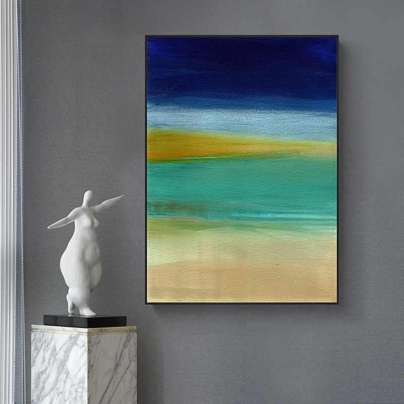 Vintage Abstrak Biru Warna Kuning Massa Poster Dinding Kanvas Cetak Lukisan Dinding Seni Gambar untuk Ruang Tamu Dekorasi Interior Rumah