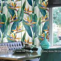 Tuya Pale Blue And Green Plant And Leaf Flowers Art Pattern Wall Coverings Wallpaper For Wall