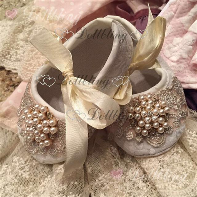 Batismo pérolas Pedrinhas lace ornamento crystal clear sapatos mágicos lembrança de infância do bebê 0-6 M presente princesa