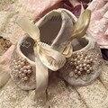Bautizo de perlas Rhinestones del ornamento del cordón transparente zapatos de bebé de cristal mágica regalo de recuerdo de la infancia 0-6 M princesa