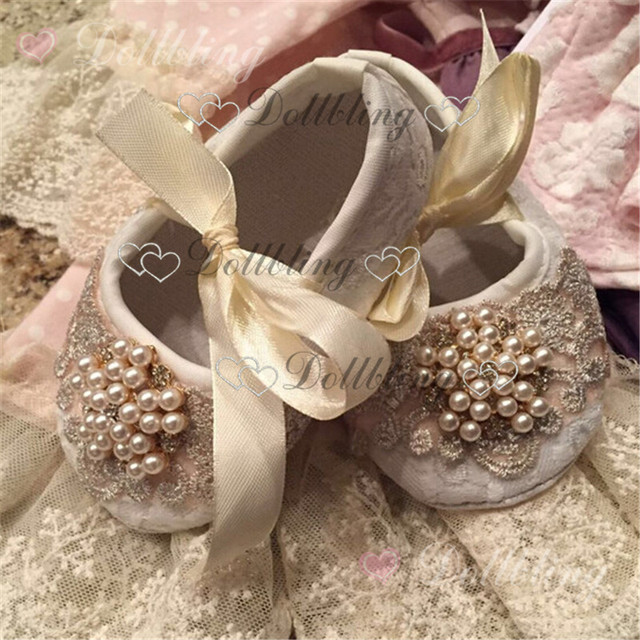 Christening pearls Rhinestones lace ornament  clear crystal baby shoes magic childhood keepsake 0-6M princess gift