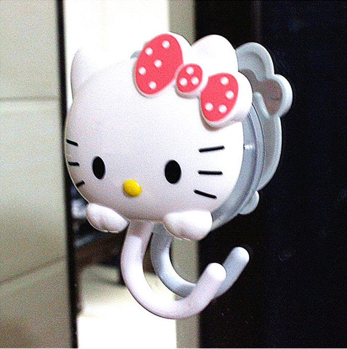 new arrival 2 pieceslot hello kitty rube hooks cute cartoon suction cup hooks