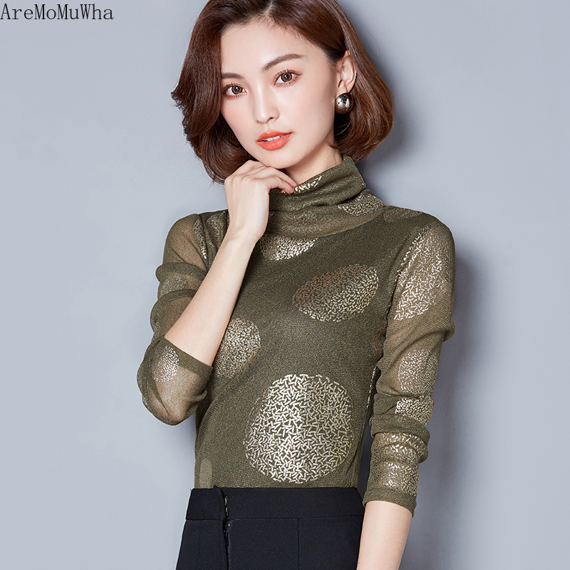 Aremomuwha Autumn Winter New Fashion High Collar Long-sleeved Womens Lace Bottoming Shirt Plus Velvet Slimming Mesh Shirt Mh242 Providing Amenities For The People; Making Life Easier For The Population Women's Clothing