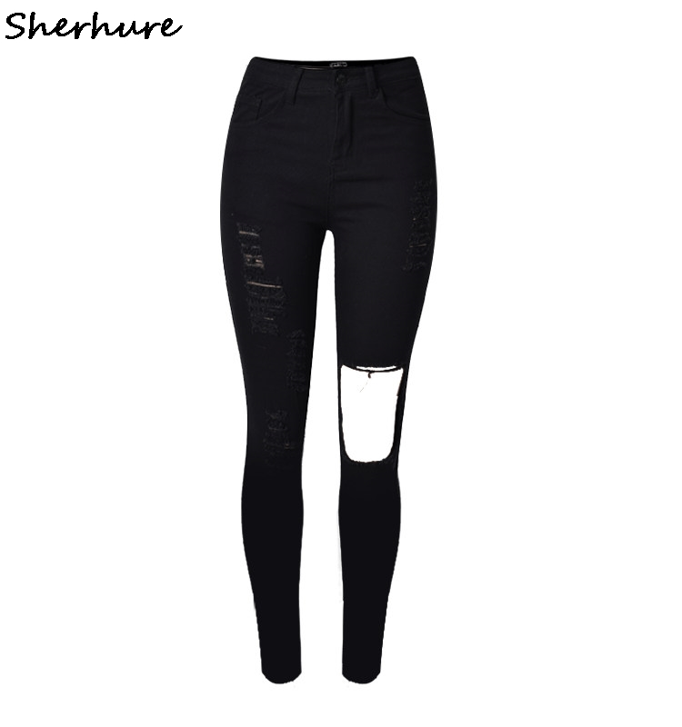 2019 New Fashion Women Hole Knee Jeans Slim Black High Waist Torn Jeans Ripped Skinny Pencil Pants Female Stretch Trousers