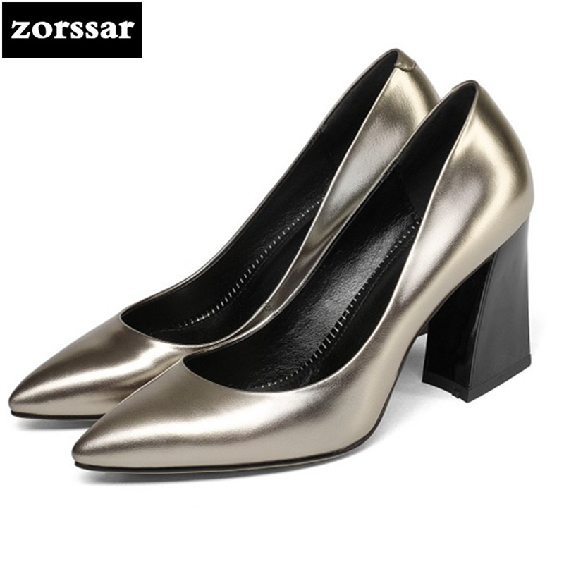 {Zorssar} 2018 new fashion women's shoes Shallow Pointed toe Genuine Leather thick heel High heels pumps ladies Dress shoes zorssar 2018 new fashion crystal genuine leather thick heel womens shoes heels square toe high heels pumps ladies dress shoes