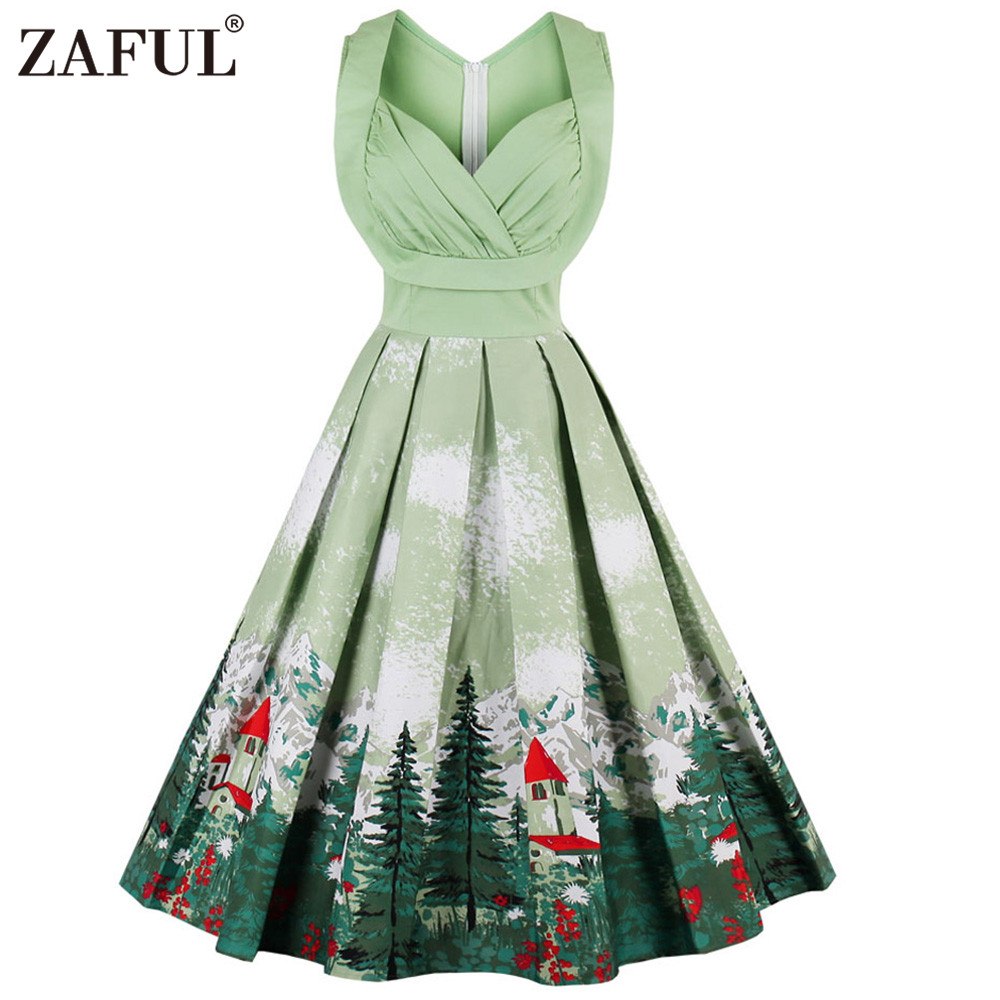 Zaful Cute Christmas Print Women Vintage Dresses Floral