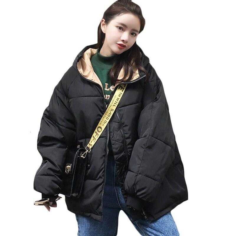 2019 Winter Women Ladies Cotton Padded Warm Jacket Boyfriend Loose Casual Coat Outwear Womens Oversized Hooded Coat Parka XH1095