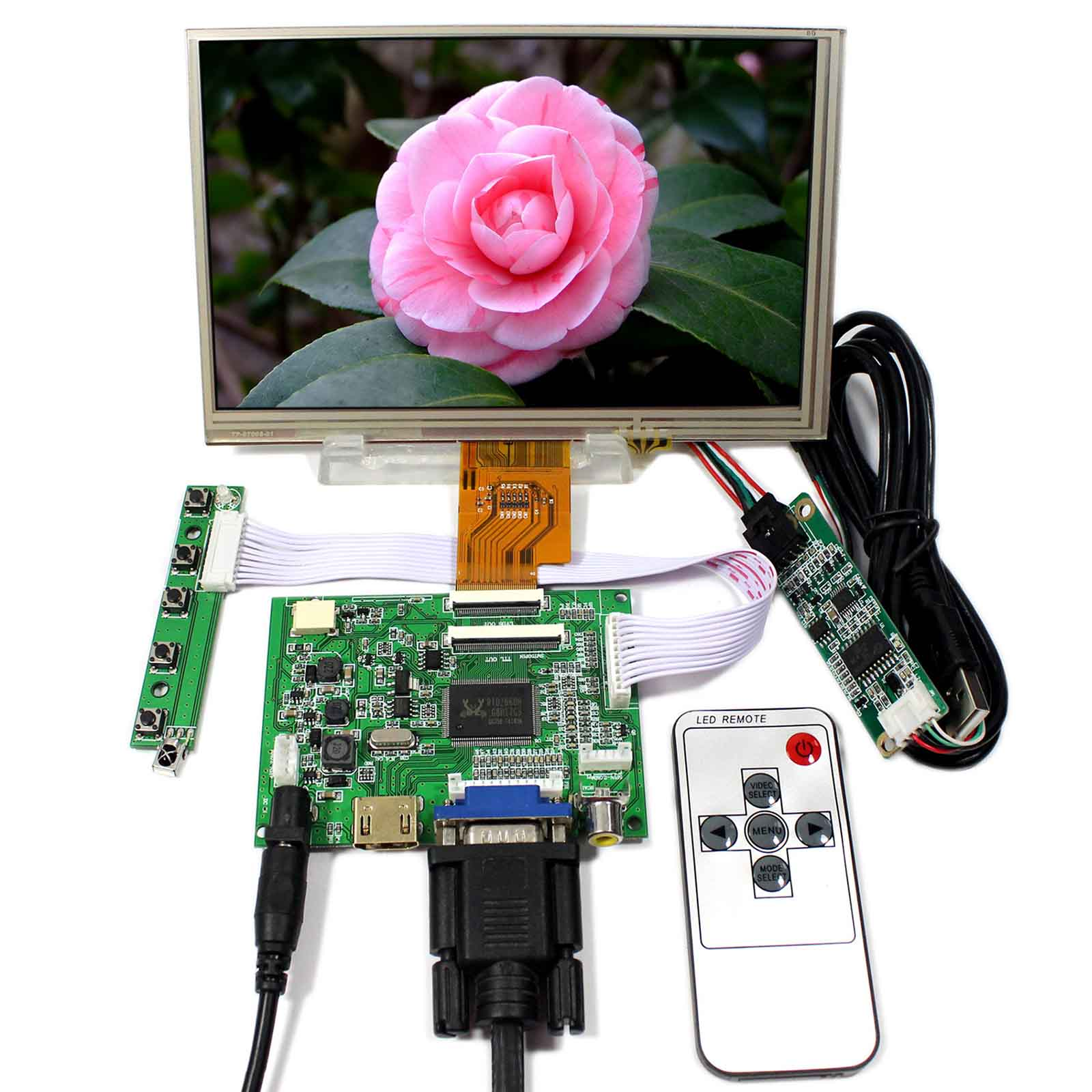 HDMI+VGA+2AV LCD Controller Board VS-TY2662-V5 With 7inch 1024x600 AT070TNA2 LCD With Resistive Touch vga 2av reversing lcd controller board with 7inch 1024x600 at070tna2 lcd screen