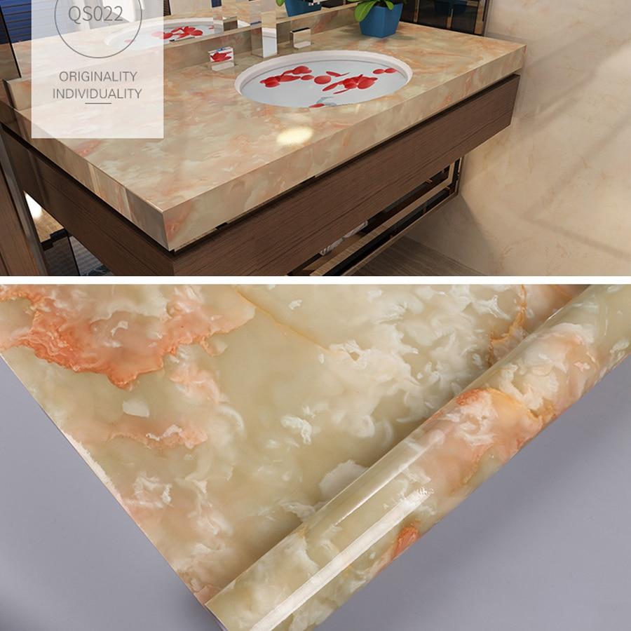 Купить с кэшбэком PVC Marble Self-adhesive Wallpaper Modern Papel De Parede Waterproof Wall Stickers For Kitchen Living Room Furniture Wall Papers