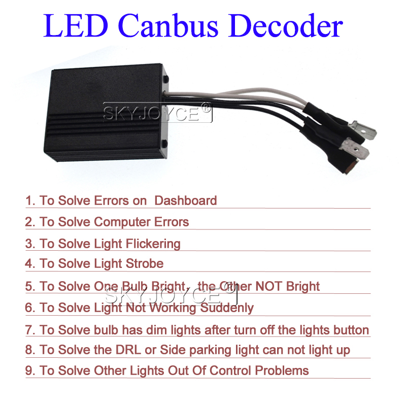 SKYJOYCE LED H1 H3 H7 Canbus Decoder H11 HB3 HB4 Warning Canceller Capacitor And Resistor Canbus For Car Headlight LED Fog Light (1)
