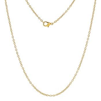 """DoreenBeads biżuteria naszyjnik owalny złoty kolor łańcuchy kablowe karabińczyk 45.7cm(18 """") długi, 1 talerz (około 12 szt.)"""