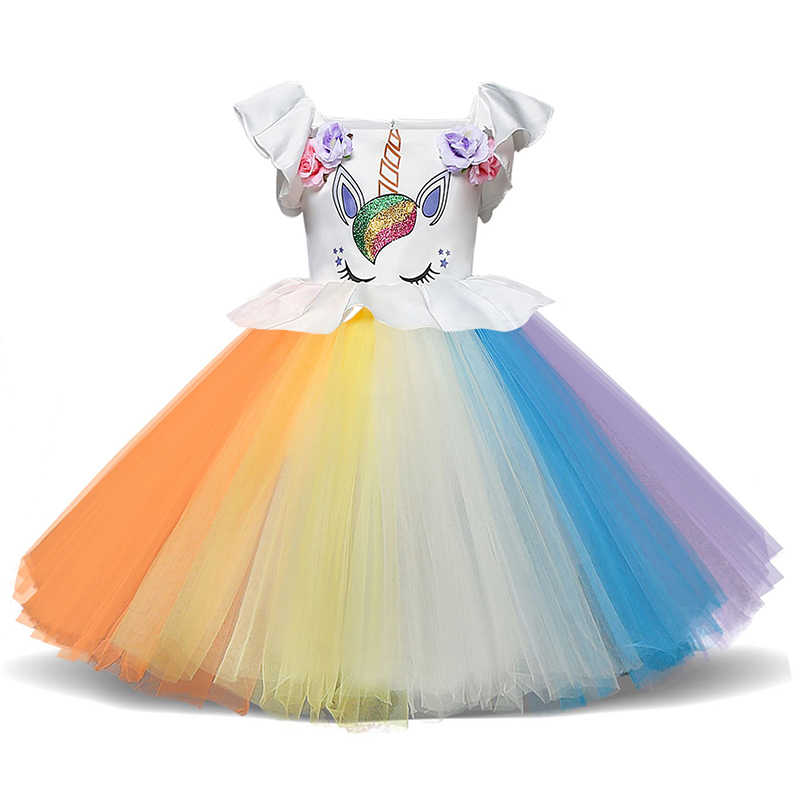 6597e565ce534 Fancy Rainbow Dress For Party Girls Unicorn Costume Kids Summer Clothes  Colorful Christening Gowns For 1 Year Old Newborn Baby