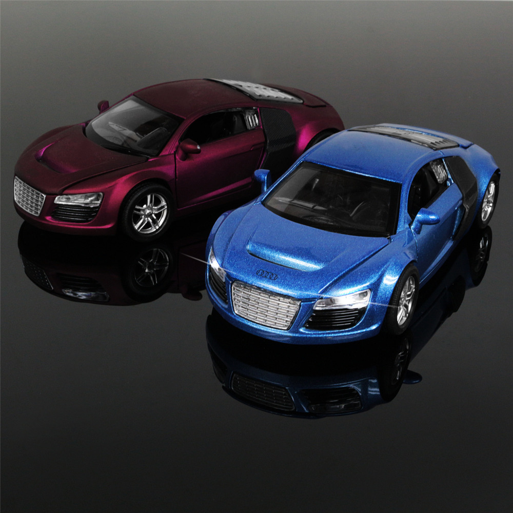 1:32 Kids Toys AUDI R8 Metal Toy Cars Model for Children Music Pull back Car Miniatures Gifts for Boys image