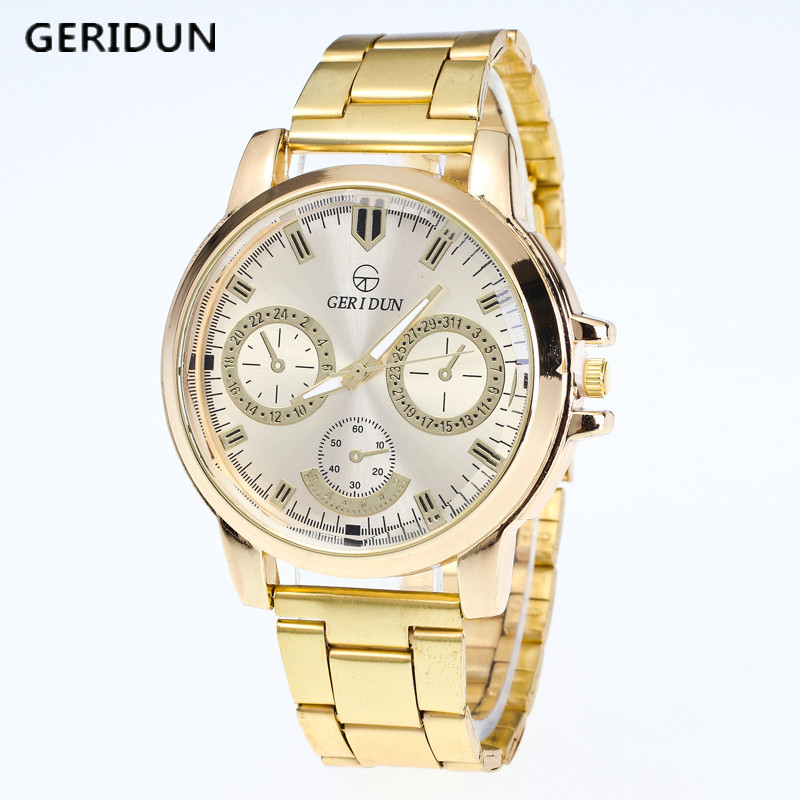 GERIDUN Mens Gold Watch Brand Men Watches Luxury Sport Quartz Watch Men Watches Stainless Steel Wristwatches Relogio Masculino mce top brand mens watches automatic men watch luxury stainless steel wristwatches male clock montre with box 335