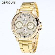 GERIDUN Mens Gold Watch Brand Men Watches Luxury Sport Quartz Watch Men Watches Stainless Steel Wristwatches Relogio Masculino