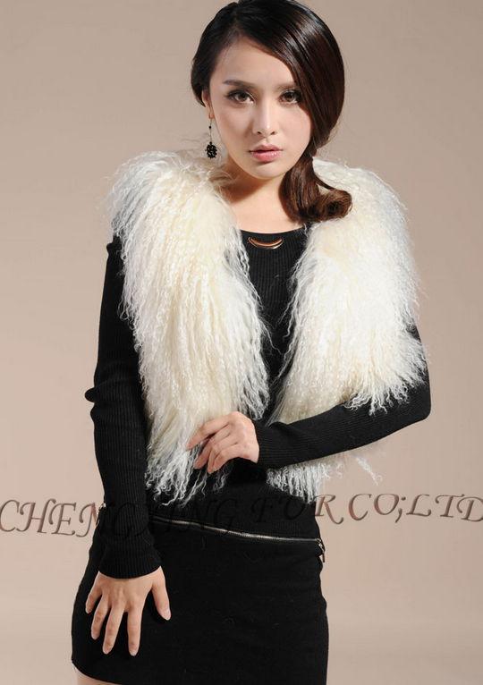 CX-G-B-51C настоящий монгольский овечка меховой жилет женский сексуальный короткий жилет зимнее пальто Меховая куртка - Цвет: White