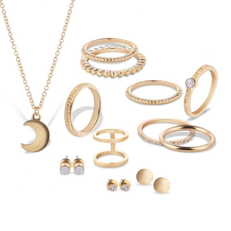 JAVRICK 12Pcs Women Wedding Necklace Ring Earrings Ear Stud Jewelry Set Modish Charms