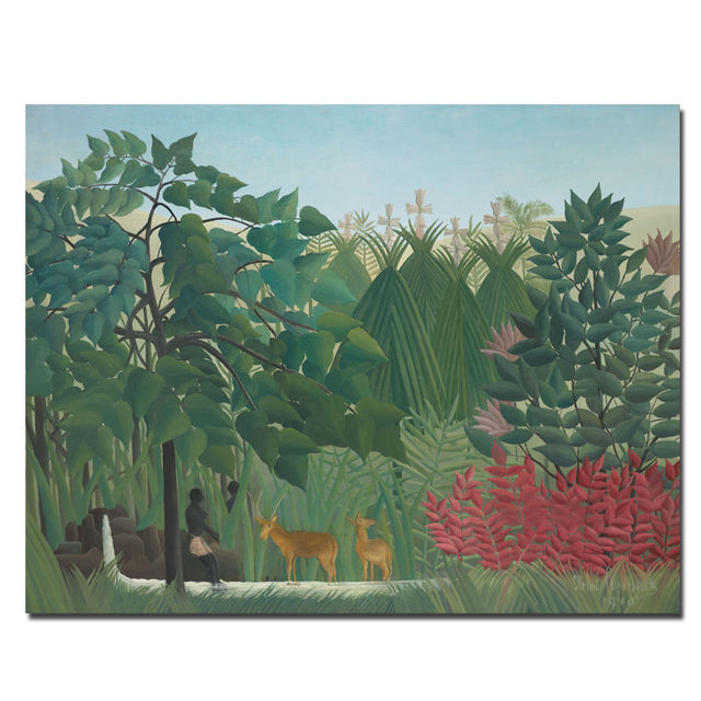 75ecba1fe0d Wall Art People and Deer in the Jungle Henri Rousseau Paintings High  quality Canvas Prints Wall Art Posters For Home Decor