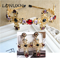 2018 new Baroque retro high grade cross Colorful Crystal hairpin Bridal headdress hair bands women Accessories gold Jewelry Sets