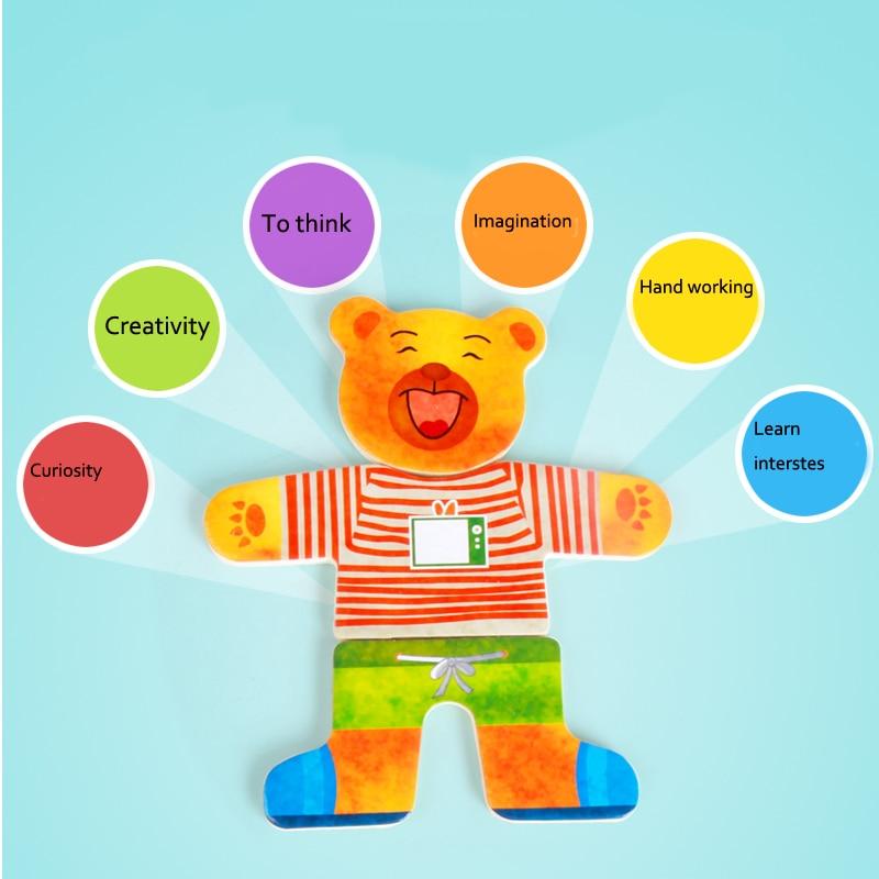 Blocs de jouets en bois Jigsaw Animal Bear Vêtements robes robes de - Jeux et casse-tête - Photo 3