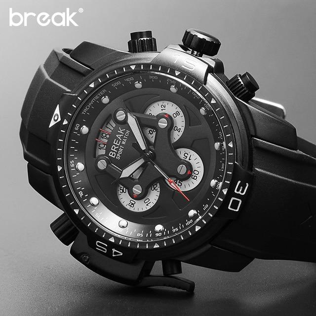 b986eb13f564a كسر كرونوغراف ساعة رياضية للرجال الطلب الكبير مع تاريخ رجالي ساعات أعلى  العلامة التجارية الفاخرة المطاط